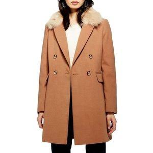 Topshop good condition Noami Faux Fur Collar Coat